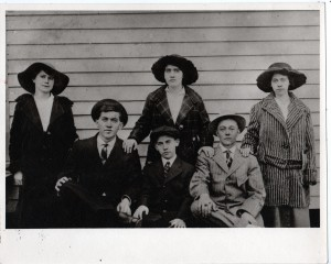 "My grandfather's siblings: Based on their ages, I'm guessing that back row, left to right are Wirt (Gregory) Roberts, Virgie (Morgan) Roberts, and Nancie (Quillen) Roberts. The boys in front are Edd, Bascum and Elbert (""Sug"") Roberts"
