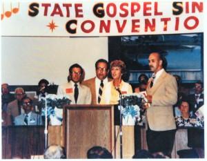 The Zion Quartet at the Virginia State Singing Convention: (l-r) Jim Osborne(Tenor), Olonie Helton(Bass), Jackie Brown Osborne(Alto), Foyster Roberts(Lead)