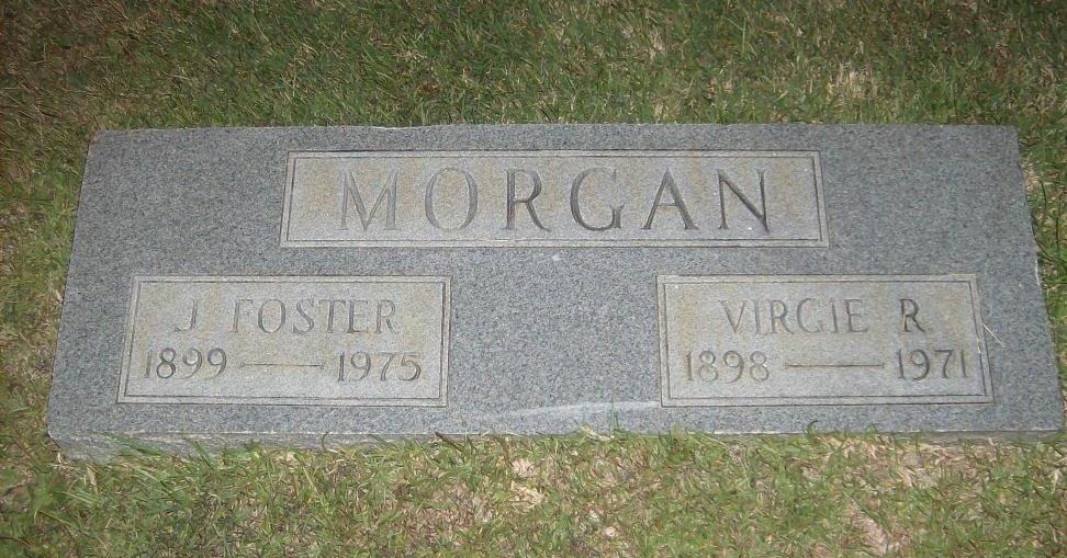 My great uncle and aunt, John Foyster and Virgie G (Roberts) Morgan, buried in Bessemer City Memorial Cemetery in Bessemer City, North Carolina
