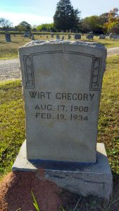 My great aunt, Wirt D. (Roberts) Gregory, wife of John Ross Gregory, 17 Aug 1900-19 Feb 1934, buried in Rosemont Cemetery in Union, South Carolina.
